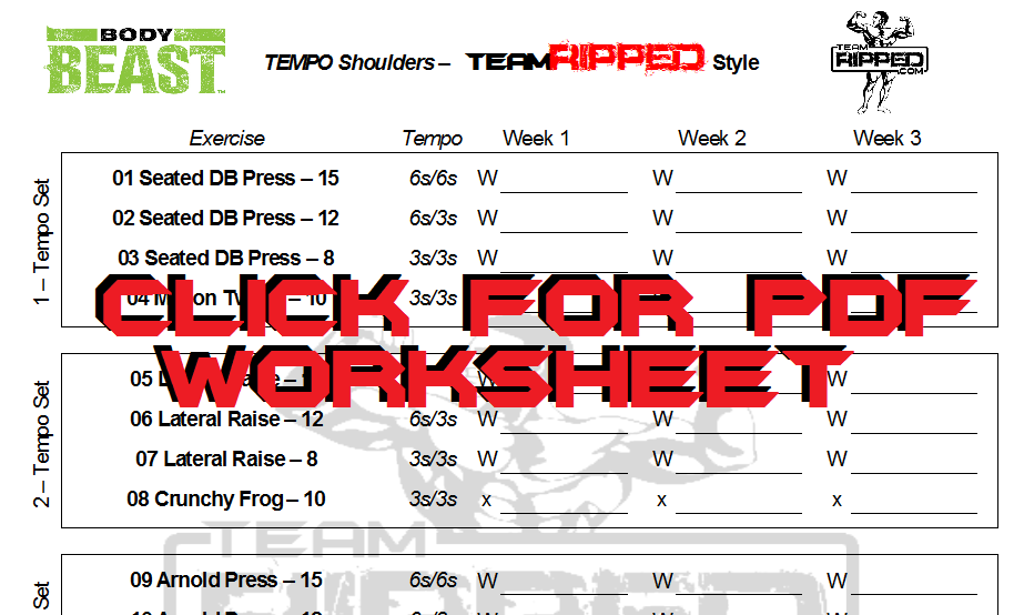 Tempo Legs and Tempo Shoulders: My Addition to Body Beast