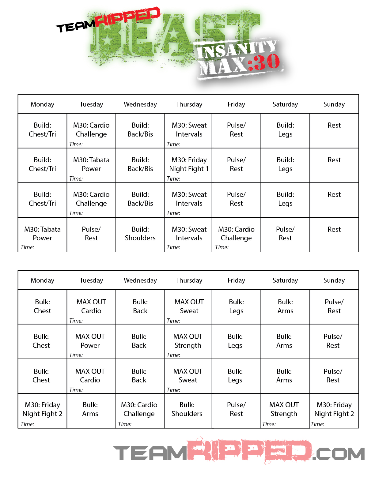 My Hybrid Worksheets Calendars teamRIPPED – Insanity Worksheets